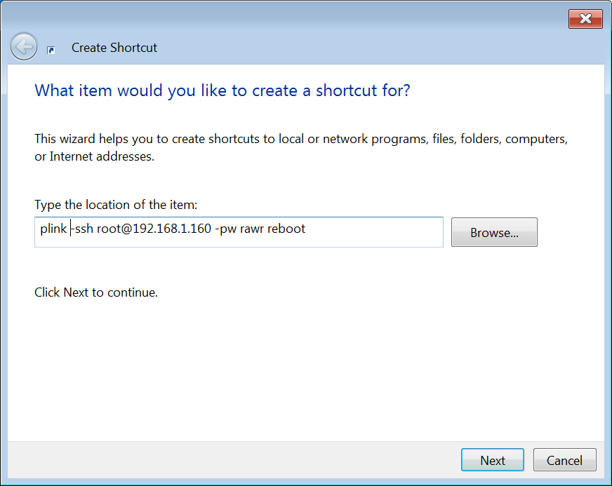 reboot pi shortcut